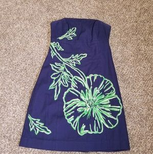 Lilly Pulitzer navy blue and green sun dress.